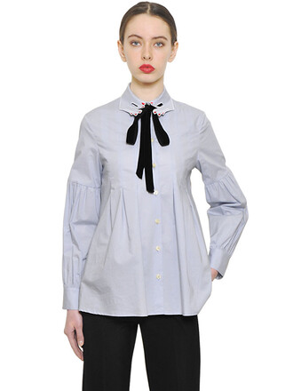 shirt pleated embroidered cotton light blue light blue top