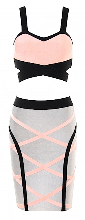 Hot kariana two piece pink & grey swirl stripe celebrity bandage dress