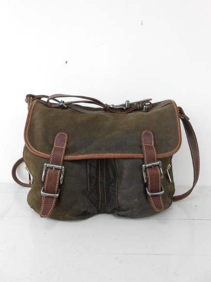 bag leather bag leather messender bag green messenger bag vintage leather bag vintage