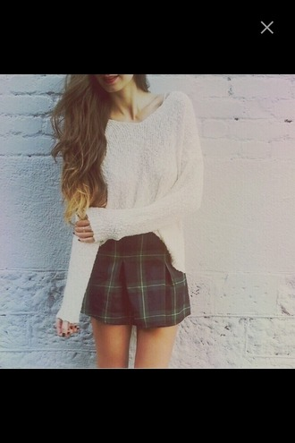 sweater flannel skirt loose fit sweater oversized sweater light sweater outfit