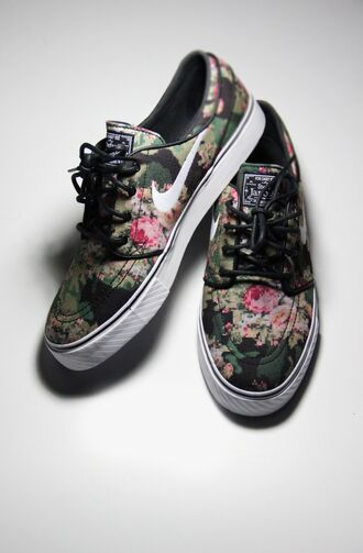 shoes nike flowers vintage floral