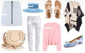 the fashion fraction,blogger,outfit,white jeans,pink sweater,sandals,poncho,blue shoes,skirt,hat,shoes,bag,pants,sweater
