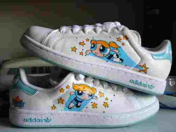 shoes pale pale grunge the powerpuff girls power puff girls adidas kawaii kawaii grunge blue white the powerpuff girls adidas shoes white sneakers