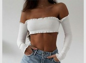 blouse,off the shoulder,white,cute,shirt,bardot crop top,top