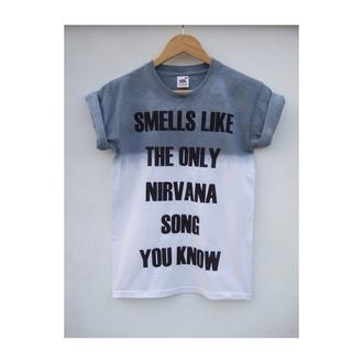 nirvana grey white t-shirt top