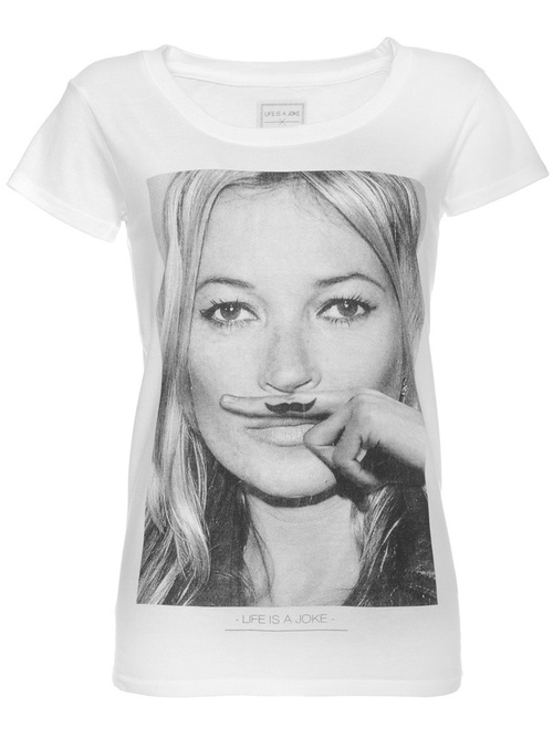 Eleven Paris | Kate Moss Mustache Graphic White T-Shirt | GIRISSIMA.COM