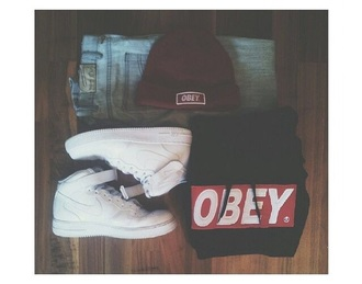 sweater obey beanie obey menswear pants hat