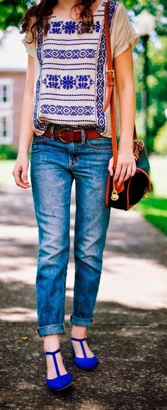 jeans blouse aztec bag boho indigo black purse belt denim blue shoes fall outfits side shoulder purse summer style bohemian chic aztec.fashion tank top fashion style