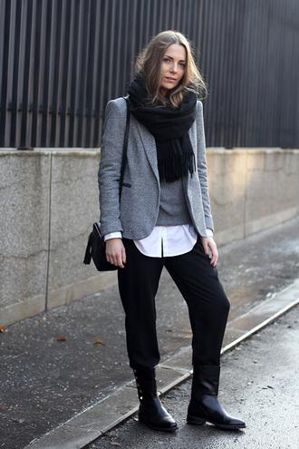 fashion and style blogger boyish black pants grey sweater blazer