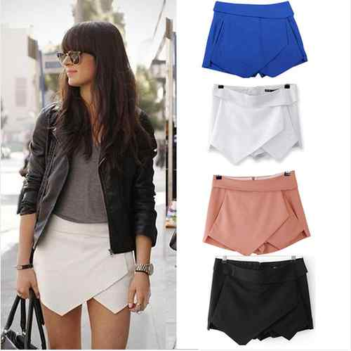 New White Black Women Wrap Mini Skort Skirt Irregular Laminated ...