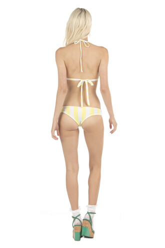 swimwear bikini bottoms cheeky print yellow reversible bikiniluxe