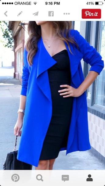 coat blue coat electric blue electric blue coat dress black dressbagpumps blue midi dress pencil dress pointed toe pumps