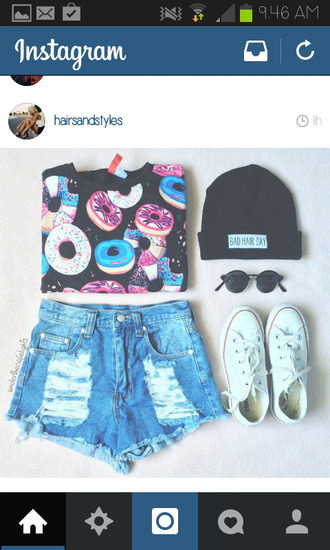 blouse donut perfect food converse beanie