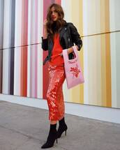 skirt,sequins,sequin skirt,rocky barnes,instagram,blogger,midi skirt,ankle boots,biker jacket