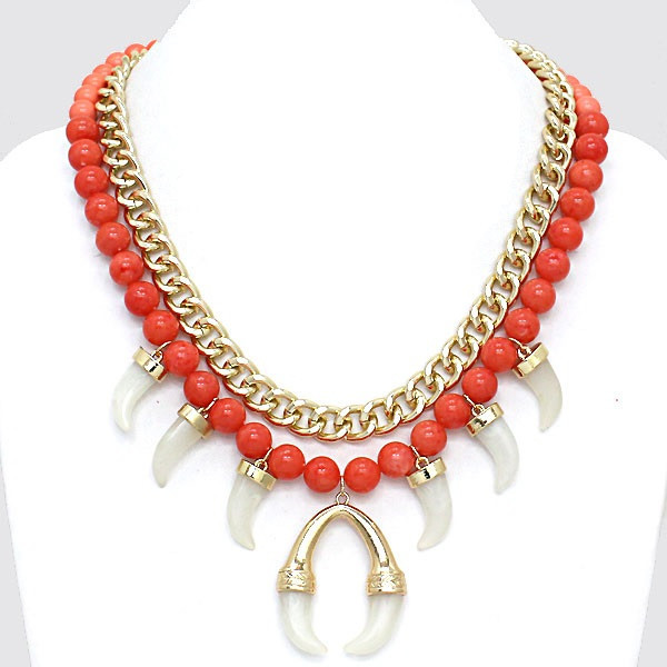 Coral Tribal Horn Necklace                           | Fancy Friday