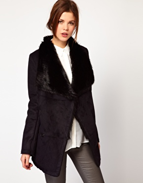 Warehouse | Warehouse Extreme Collar Sheering Coat at ASOS