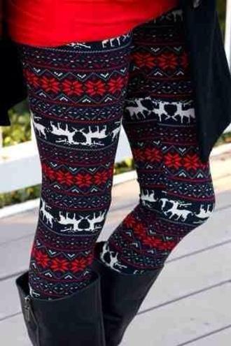 leggings christmas leggings deer red christmas