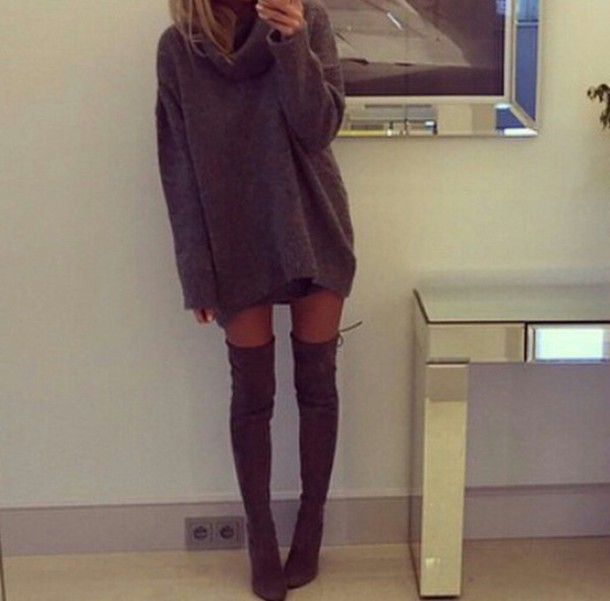 Dress: sweater dress, turtleneck, roll neck sweater, baggy jumper ...