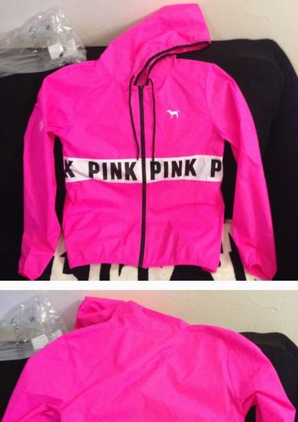 jacket victoria's secret pink windbreaker pink by victorias secret