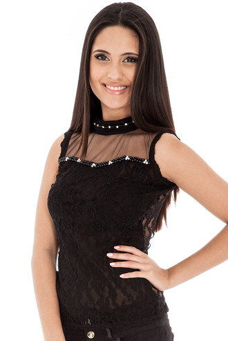 blouse sleeveless top lace diamanté pearl mesh sassy evening outfits daywear black white