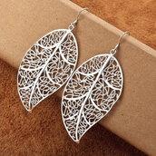 jewels,earrings,big leaves,fashion,silver