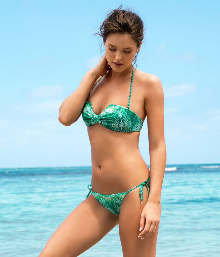 H&M Conscious Botanical Tropical Green Palm Tree Bikini with Padded Cups UK 14 | eBay
