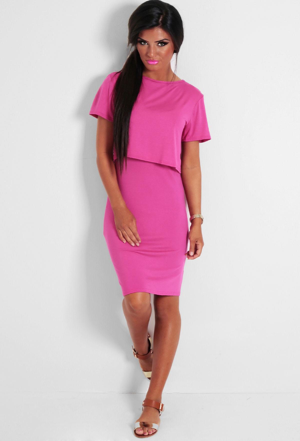 Mysin Pink Layered T-Shirt Style Dress | Pink Boutique