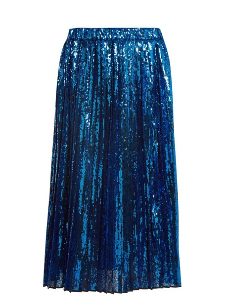 No. 21 skirt pleated skirt pleated embellished blue