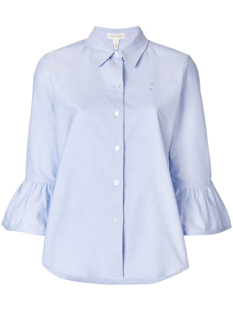 Marc Jacobs shirt ruffle women cotton blue top