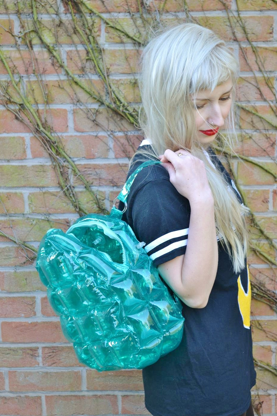 Green Turquoise 90s Club Kid See Through Clear Plastic Blow Up Inflatable Bubble Bag Rucksack Backpack