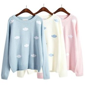 sweater,pullover top,clouds,blue,yellow,pink,white,korean fashion,한국어 패션,korean sweater