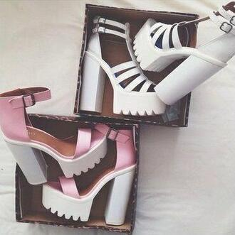 shoes twitter spring heels platform high heels kylie jenner coachella indie summer outfits girly fashion week london paris cleated sole high heels massive pink heels white heels