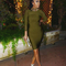 Long sleeve mesh insert bandage dress green
