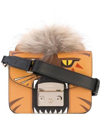 women tiger bag shoulder bag leather yellow orange