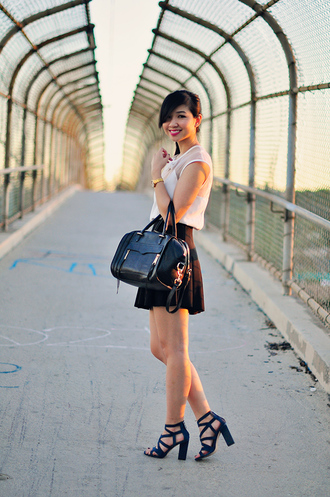 fresh fizzle blogger white top bows circle skirt leather bag