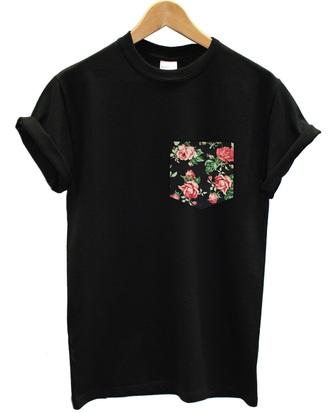 shirt all black everything floral pocket t-shirt t-shirt pockets black floral tumblr top style pocket t-shirt fashion floral t shirt flowered flowers grunge