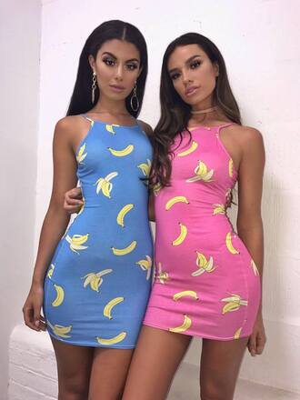 dress pretty little thing bodycon dress banana print going out summer dress funny pink dress mini dress