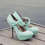 shoes,bow heels,mint green shoes,mint heels,pumps,cute high heels,sweet,flirt (fuck love i'd rather tease.),flirt p3878,hot