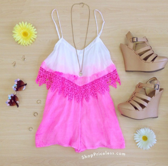 pink pink and white shoes dress summer outfits jumpsuit romper