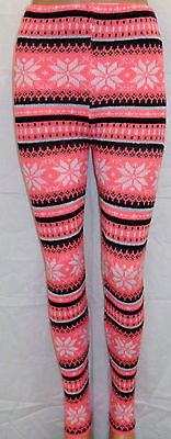New Womens Ladies Winter Snowflake Nordic Fair Isle Knitted Leggings | eBay