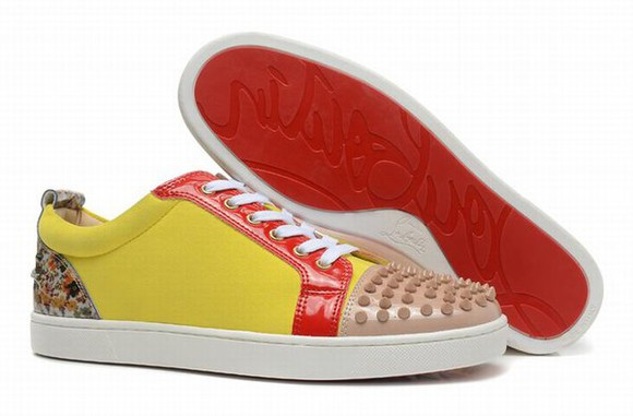 shoes christian louboutin studded shoes sneakers menswear women want too bad low sneakers yellow spider-man fashion cute where did u get that