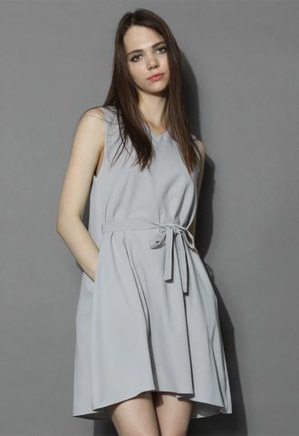 dress chicwish neutral grey v-neck shift dress grey dress v neck dress shift dress summer dress chicwish.com