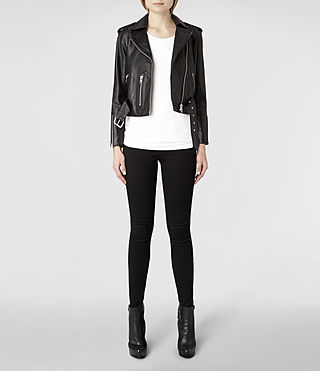 Womens Lands Leather Biker Jacket (Black) | ALLSAINTS.com