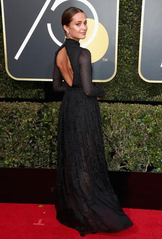 dress black dress gown prom dress alicia vikander golden globes 2018 red carpet dress