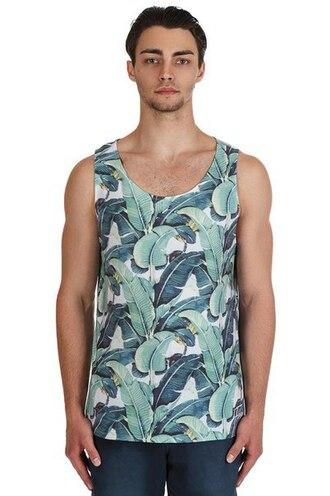 tank top floral vest printed tank top floral tank top menswear streetwear streetstyle leaves