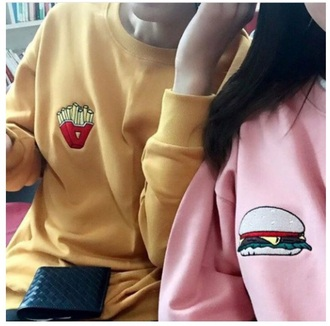sweater shirt yellow top pink skirt food shirt food sweater korean shirt korean fashion korean style korean street fashion korean street style tumblr clothes tumblr shirt tumblr sweater burger tee