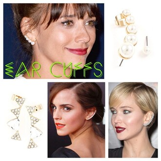 ear cuff earrings celebrity style emma watson jennifer lawrence jewels jewelry rashida jones pearl crystal