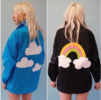coat blue jacket blue black cute cute   jacket clouds rainbow black jacket