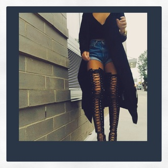shoes black knee high heels haute couture black heels high heels fashion