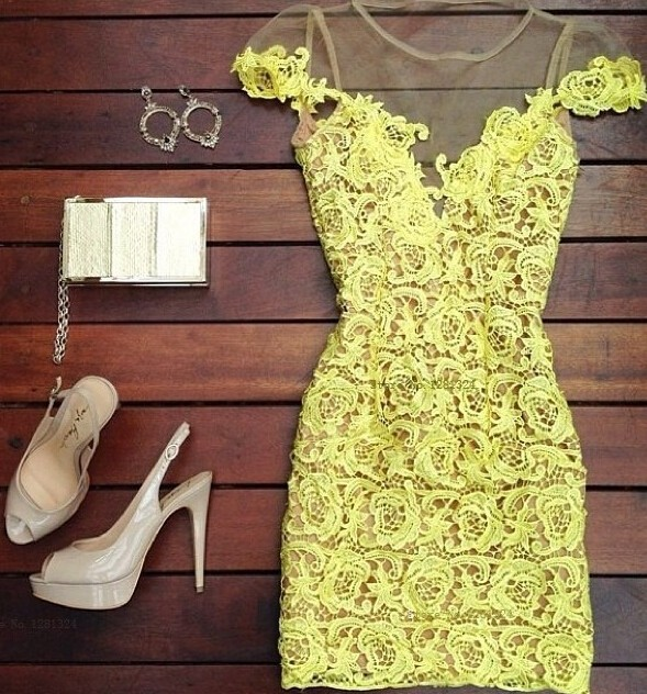 Fashion yellow stitching lace perspective gauze halter dress. Party
